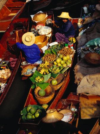 Vendors Boats/Stalls at Floating Market on Klong Damnoen Saduak, Ratchaburi, Thailand Photographic Print by Richard Nebesky