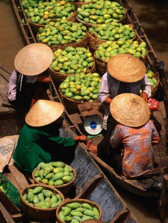 Floating Market along the Mekong Delta, an Giang, Vietnam Photographic Print by John Banagan