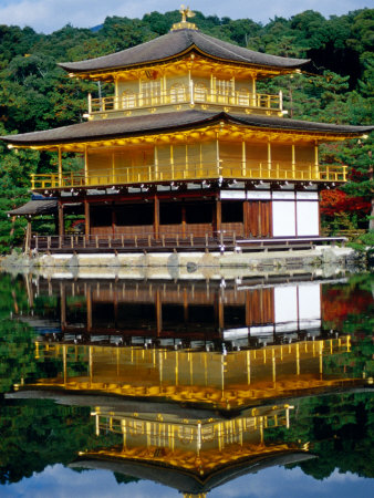 Kinkaku-Ji Temple (Golden Pavilion) Reflecting in Kyo-Ko Pond, Kyoto, Japan Lámina fotográfica