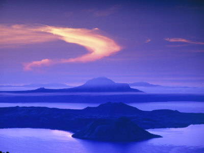 Dawn Sky Over Taal Lake, Home of Taal Volcano, Lake Taal, Batangas ...