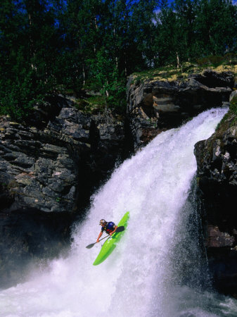 Kayaker Going Down Waterfall of Store Ula River, Rondane National Park, Norway Photographic Print by Anders Blomqvist