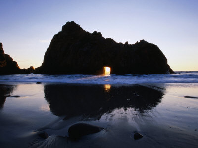 Pfeiffer Beach Rock Formation at Dusk, Pfeiffer Big Sur State Park, USA Photographic Print by Holger Leue