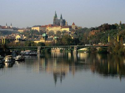 Prague Castle and Strahov Monastery Reflecting on Vltava River, Prague, Czech Republic Photographic Print by Richard Nebesky