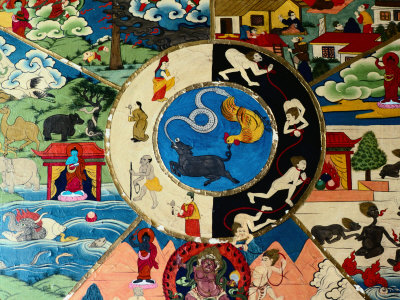 Detail of Painting at Entrance to Prayer Hall, Pemayangste Monastery, Pemayangtse, Sikkim, India Photographic Print by Richard I'Anson