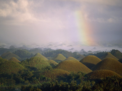 Rainbow Over the Chocolate Hills, Bohol Island, Bohol, Philippines ...