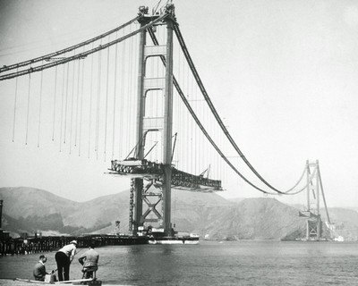 Grandes estructuras históricas en construcción The-golden-gate-bridge-during-construction