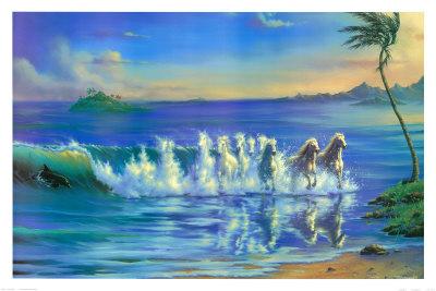 Galloping Waves Print by Jim Warren