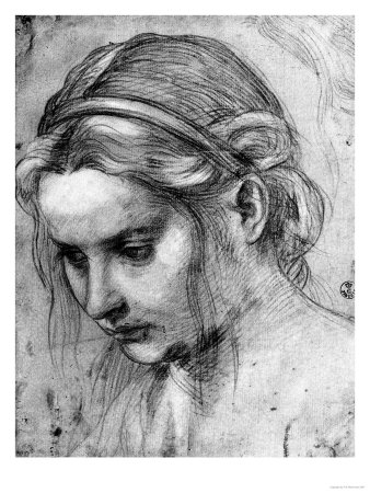 Face of a woman with ruffled hair looking down giclee for How to draw a girl looking down