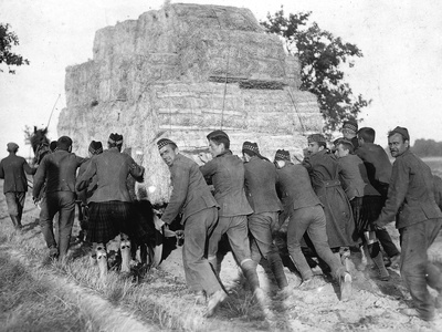 A Group of British Pows in Germany, Transporting Hay for the Troops' Straw Beds Photographic Print