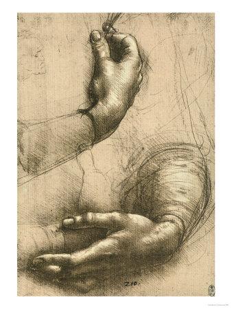 Study of Female Hands, Drawing, Royal Library, Windsor Premium Giclee Print by  Leonardo da Vinci