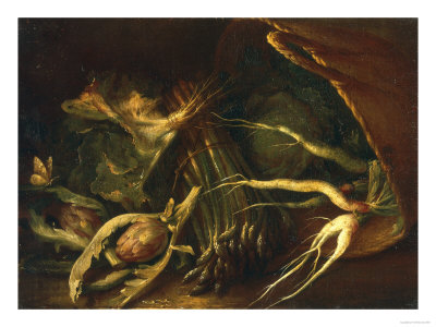 Chest with Roots, Asparagus and Artichokes, Palatine Gallery, Florence Premium Giclee Print by Arnold Houbraken