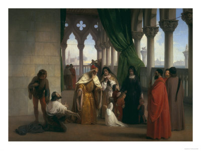 The Two Foscari, Modern Art Gallery, Florence Premium Giclee Print by Francesco Hayez