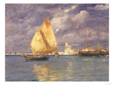 San Giorgio Marina Painting, Modern Art Gallery, Pitti Palace, Florence Giclee Print by Guglielmo Ciardi