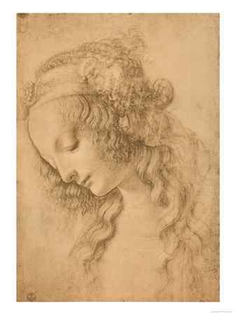 Study for the Face of the Virgin Mary of the Annunciation Now in the Louvre Premium Giclee Print by  Leonardo da Vinci