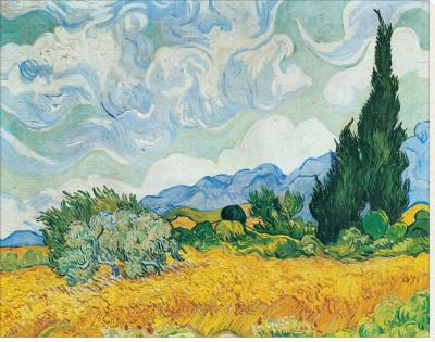 Wheatfield with Cypresses Kunst op gespannen canvas van Vincent van Gogh