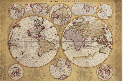 Antique Map, Globe Terrestre, 1690 Stretched Canvas Print