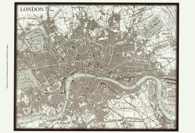 Sepia Map of London Prints
