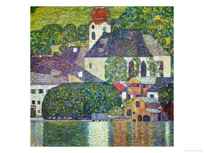 Kirche in Unterach Am Attersee, Church in Unterach on Attersee reproduction procédé giclée