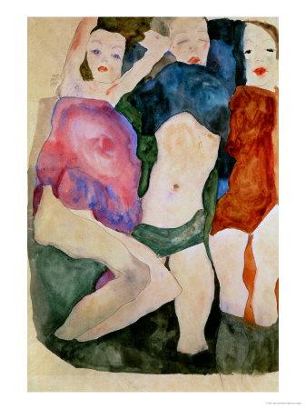 Three Girls Giclee Print by Egon Schiele