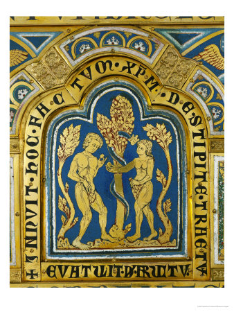 Eve Hands Adam the Apple; the Snake Has a Crowned Woman's Head Giclee Print by  Nicholas of Verdun