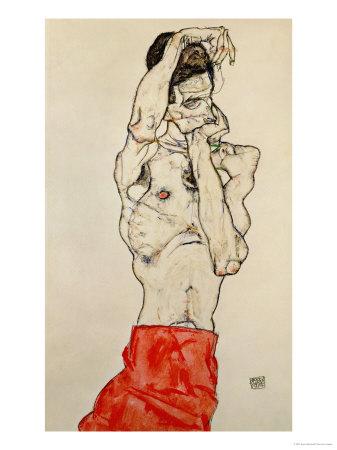 Standing Male Nude with Red Loincloth, 1914 Lámina giclée por Egon Schiele