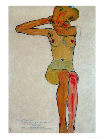 Seated Female Nude with Raised Right Arm, 1910 Giclee-vedos