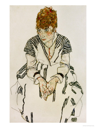 The Artist's Sister-In-Law in Striped Dress, Seated, 1917 Giclee Print by Egon Schiele