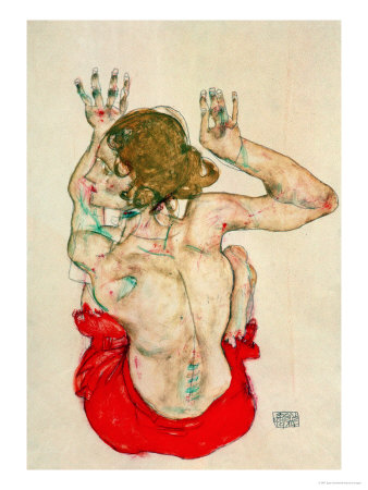 Female Nude Seated on Red Drapery Giclee Print by Egon Schiele