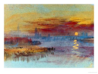 Sunset on Rouen Giclee Baskı
