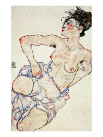 Kneeling Female Semi-Nude, 1917 reproduction procédé giclée