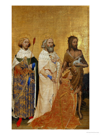 King Richard II (1367-1400) Kneeling in Front of King (Saint) Edmund and King Edward the Confessor Giclee Print