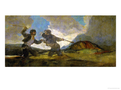 Duel with Cudgels, One of the Black Paintings from the Quinta Del Sordo, Goya's House, 1819-1823 Giclee Print by Francisco de Goya