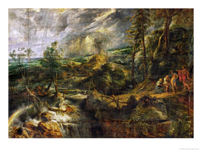 Landscape in a Thunderstorm, Philemon and Baucis, Jupiter and Mercury, circa 1620 Giclee Print by Peter Paul Rubens