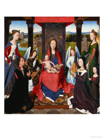 Triptych of John Donne, Central Panel: St. Mary and Child Surrounded by Saints, Angels and Donors Giclee Print by Hans Memling