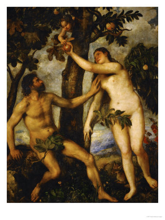 Adam and Eve, Around 1570 Giclee Print by  Titian (Tiziano Vecelli)