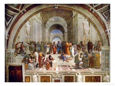 School of Athens, circa 1510-1512, One of the Murals Raphael Painted for Pope Julius II reproduction procédé giclée