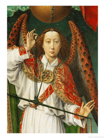 Archangel Michael Weighing Souls, Close-Up of Angel Giclee Print by Rogier van der Weyden