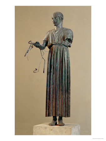 The Charioteer of Delphi, a Votive Offering from Polyzalos reproduction procédé giclée