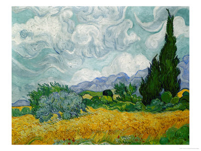 Wheatfield with Cypresses, c.1889 Giclee Print
