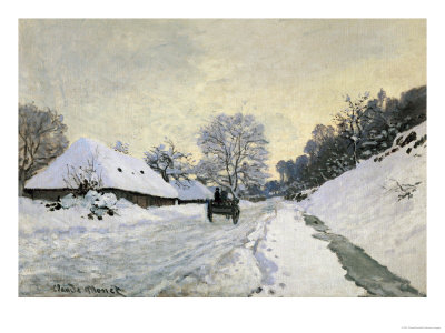 The Carriage, Snow on the Road to Honfleur, with the Farm of Saint Simon, circa 1867, 1867 Giclee Print by Claude Monet