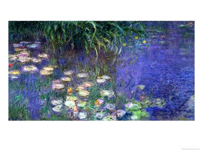 Waterlilies (Les Nympheas), Study of the Morning Water Lámina giclée por Claude Monet