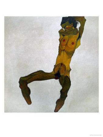 Egon Schiele, Self-Portrait, Nude Giclee Print by Egon Schiele