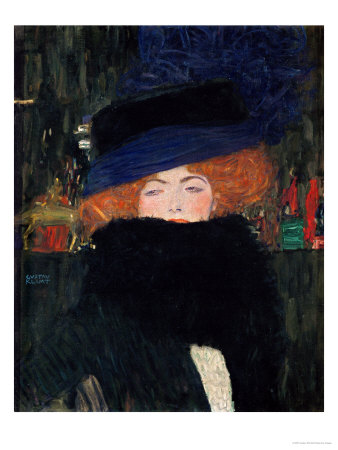 Lady with Hat and Feather Boa, 1909 Giclee Print by Gustav Klimt