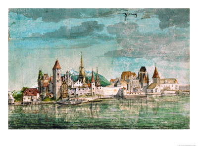 Innsbruck Seen Across the River Inn, 1495 Giclee Print by Albrecht Dürer