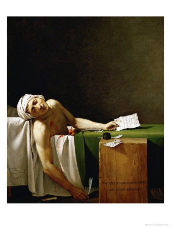 Jean Paul Marat, Politician, Dead in His Bathtub, Assassinated by Charlotte Corday in 1793 Giclee Print by Jacques-Louis David