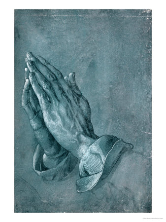 Praying Hands, 1508, Point of Brush and Black Ink, Heightened with White, on Blue Prepared Paper Giclee Print by Albrecht Dürer