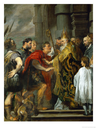 Saint Ambrose and Emperor Theodosius Giclee Print by Sir Anthony Van Dyck