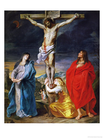 Christ Crucified with the Virgin, Saint John and Mary Magdalene reproduction procédé giclée