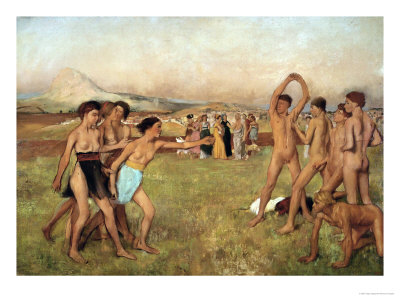 Young Spartans Exercising, Around 1860, Reworked Until 1880 Giclee Print by Edgar Degas
