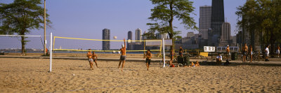 Group of People Playing Beach Volleyball, Chicago, Illinois, USA Photographic Print by  Panoramic Images